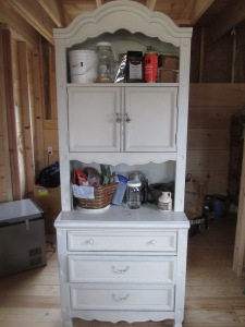 "This ""girly"" craigslist find has been so helpful since we have no kitchen cabinets yet, except for . . . ."